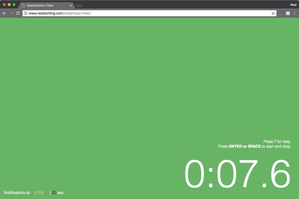 timer showing green